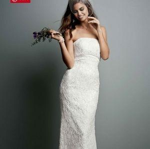 David's Bridal strapless ivory wedding gown